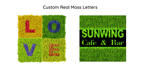 Customize your logos and patterns with colorful moss wall